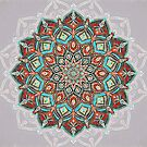Teal, Red and Black Boho Painted Mandala by micklyn