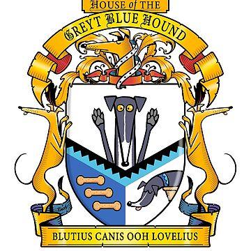 Greyhound Heraldry: Greyt Blue Hound by RichSkipworth