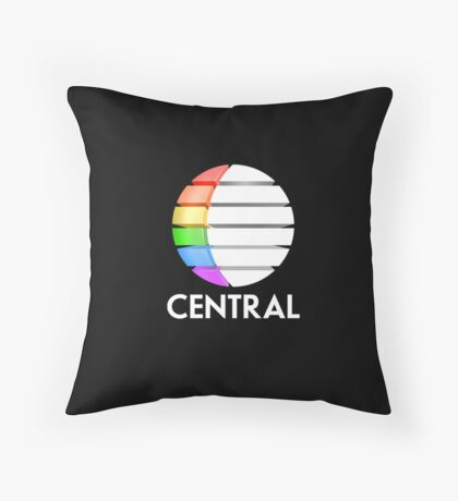 Central TV television 1980s retro logo 3D render  Throw Pillow