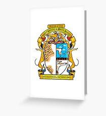 Greyhound Heraldry: Greyt Brindle & White Hound Greeting Card