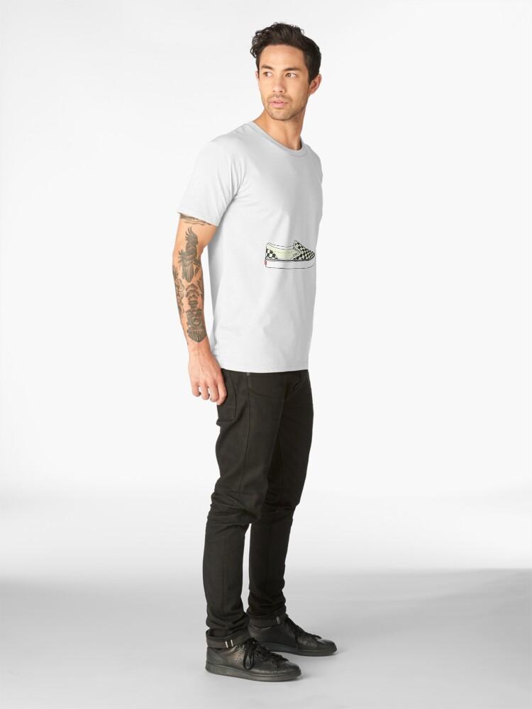 11b988fbd6b Black Checkered Vans Shoes Men s Premium T-Shirt Front. product-preview.  product-preview