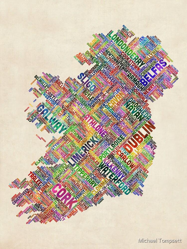 Ireland Eire City Text map by ArtPrints