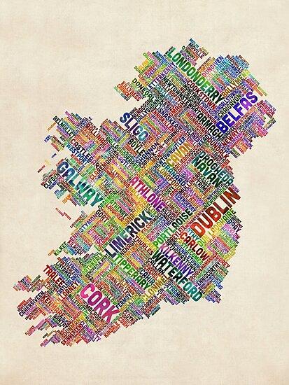 Ireland Eire City Text map by Michael Tompsett