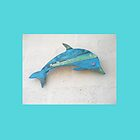 Turquoise Wood Dolphin by TerryArts