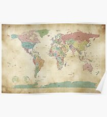 Political World Map Poster