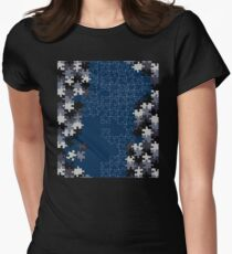 Jigsaw puzzle pieces BLUE Women's Fitted T-Shirt