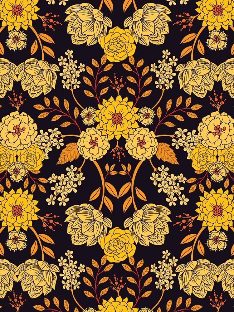 Yellow, Orange & Navy Blue Dark Floral Pattern by somecallmebeth