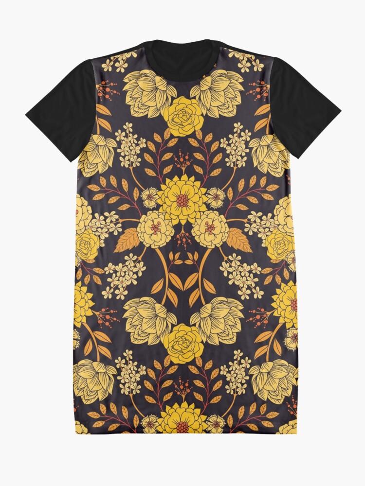 Alternate view of Yellow, Orange & Navy Blue Dark Floral Pattern Graphic T-Shirt Dress