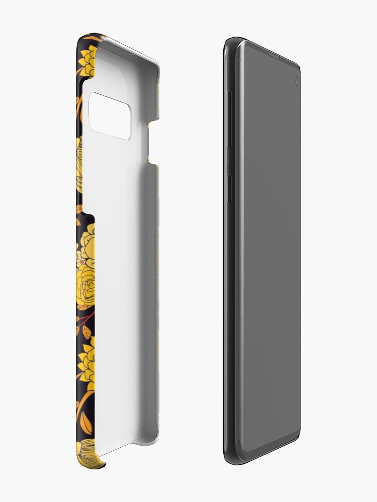 Alternate view of Yellow, Orange & Navy Blue Dark Floral Pattern Case & Skin for Samsung Galaxy