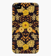 Yellow, Orange & Navy Blue Dark Floral Pattern iPhone 4s/4 Case