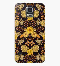 Gelb, Orange und Marineblau dunkles Blumenmuster Hülle & Skin für Samsung Galaxy