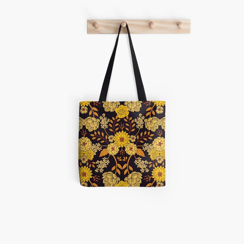 Yellow, Orange & Navy Blue Dark Floral Pattern Tote Bag