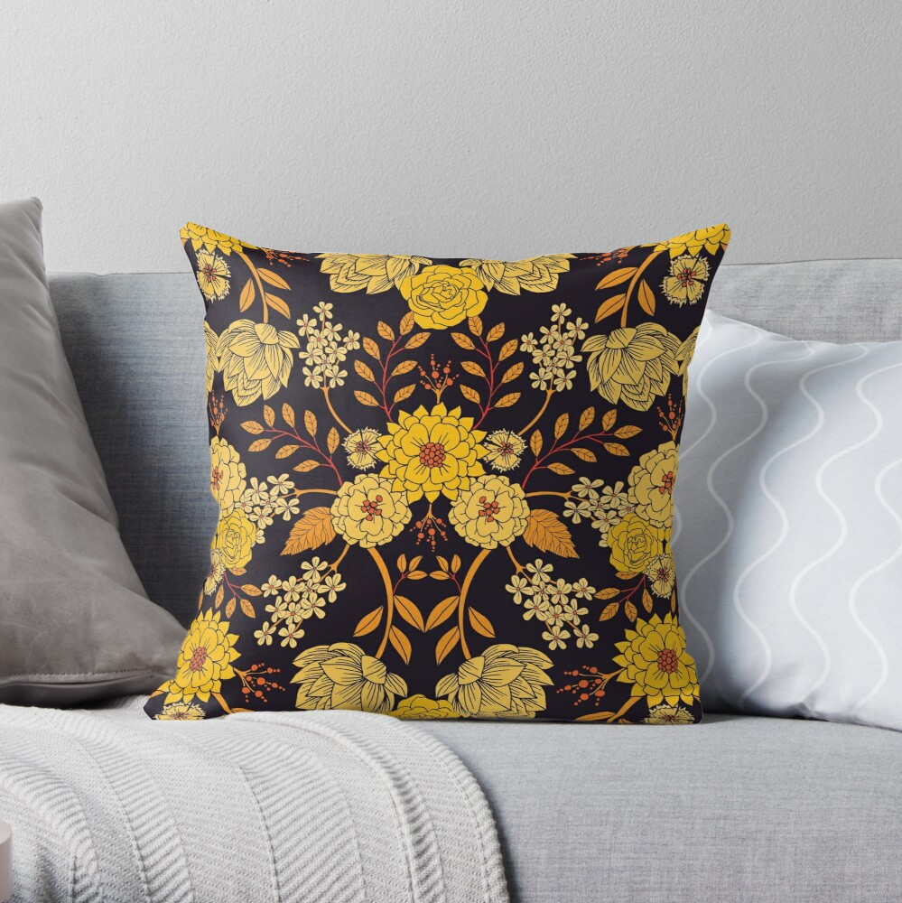 Yellow, Orange & Navy Blue Dark Floral Pattern Throw Pillow