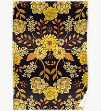 Yellow, Orange & Navy Blue Dark Floral Pattern Poster