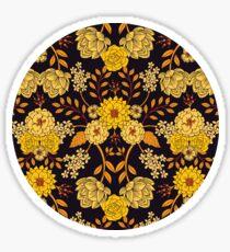 Gelb, Orange und Marineblau dunkles Blumenmuster Sticker