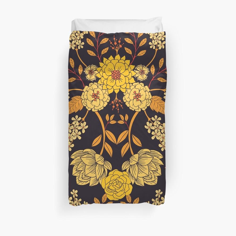 Yellow, Orange & Navy Blue Dark Floral Pattern Duvet Cover