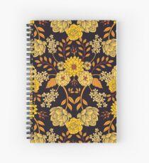 Yellow, Orange & Navy Blue Dark Floral Pattern Spiral Notebook