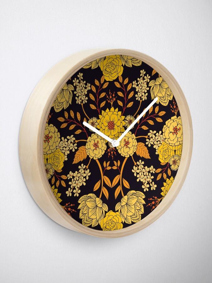 Alternate view of Yellow, Orange & Navy Blue Dark Floral Pattern Clock
