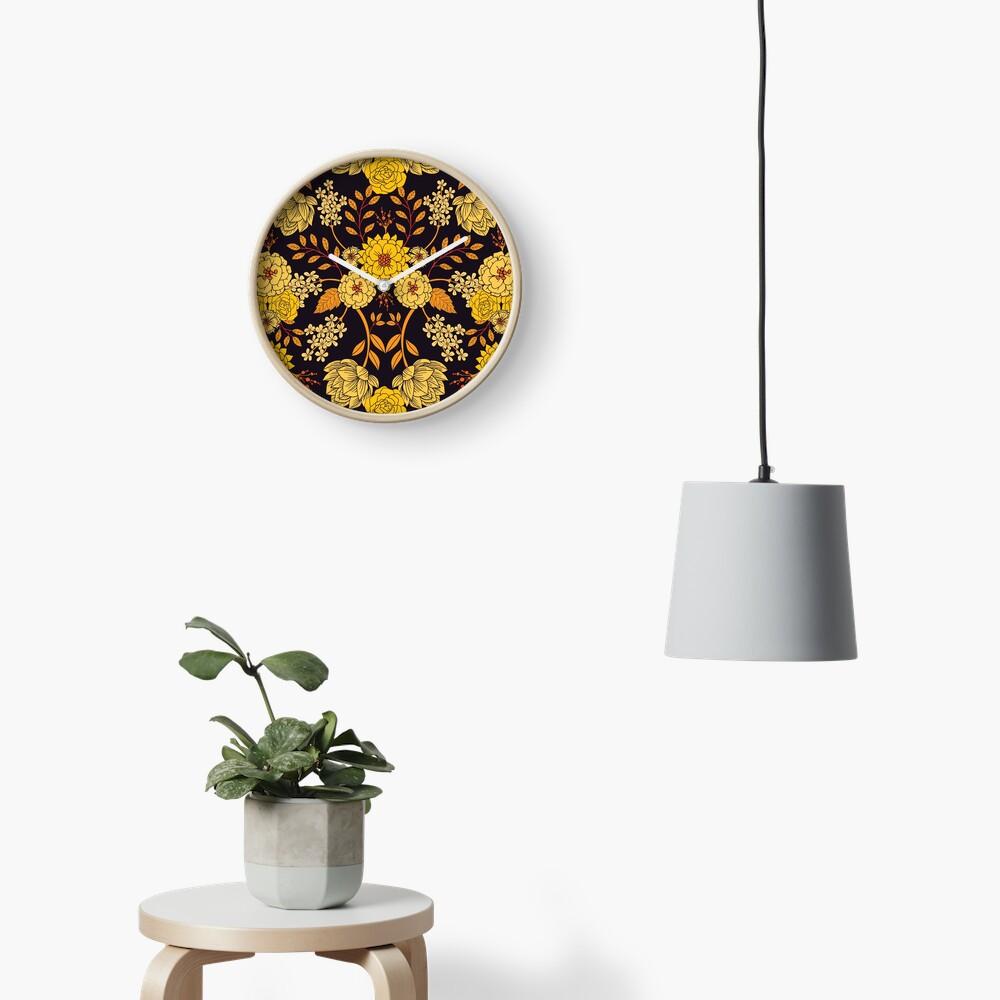 Yellow, Orange & Navy Blue Dark Floral Pattern Clock