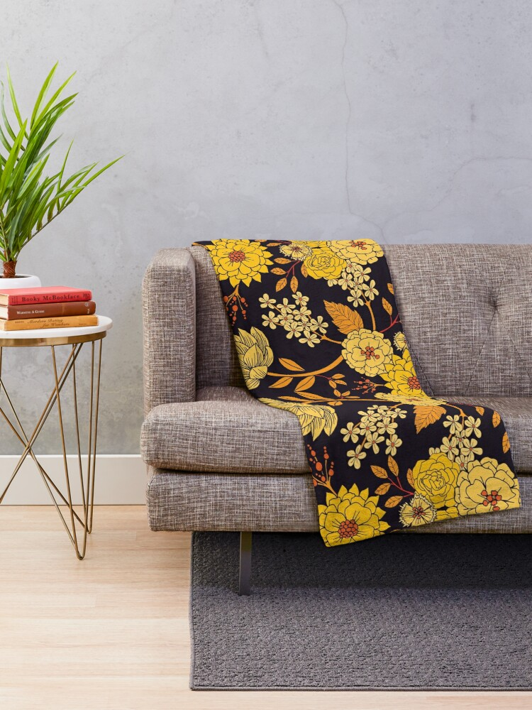 Alternate view of Yellow, Orange & Navy Blue Dark Floral Pattern Throw Blanket