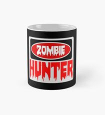 ZOMBIE HUNTER, FUNNY DANGER STYLE FAKE SAFETY SIGN Mug