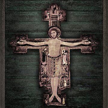 Medieval Style Jesus Christ on Cross Sculpture Artwork by DFLCreative