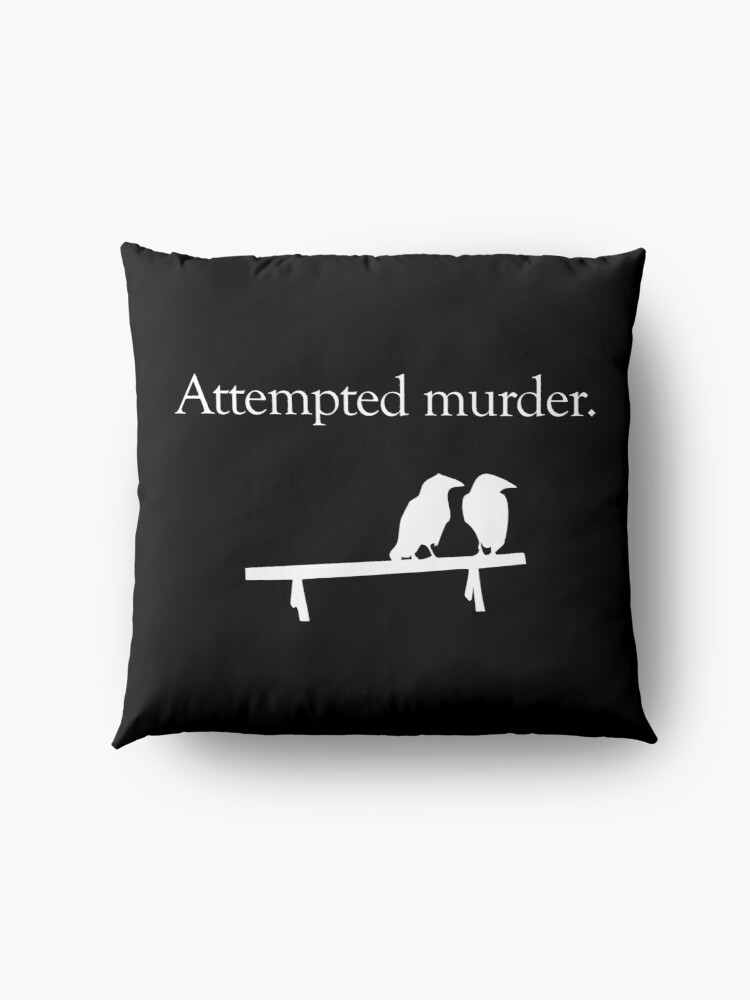 Alternate view of Attempted Murder (White design) Floor Pillow