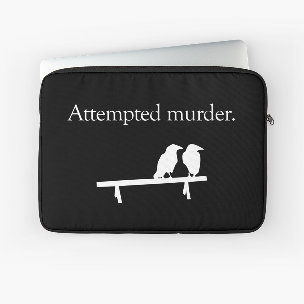 Attempted Murder (White design) Laptop Sleeve