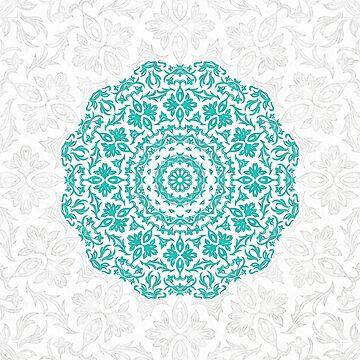 Bohemian Glittering Floral Mandala by ZedEx