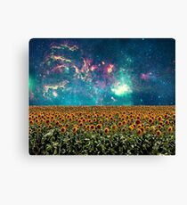 Sunflowers And Space Canvas Print