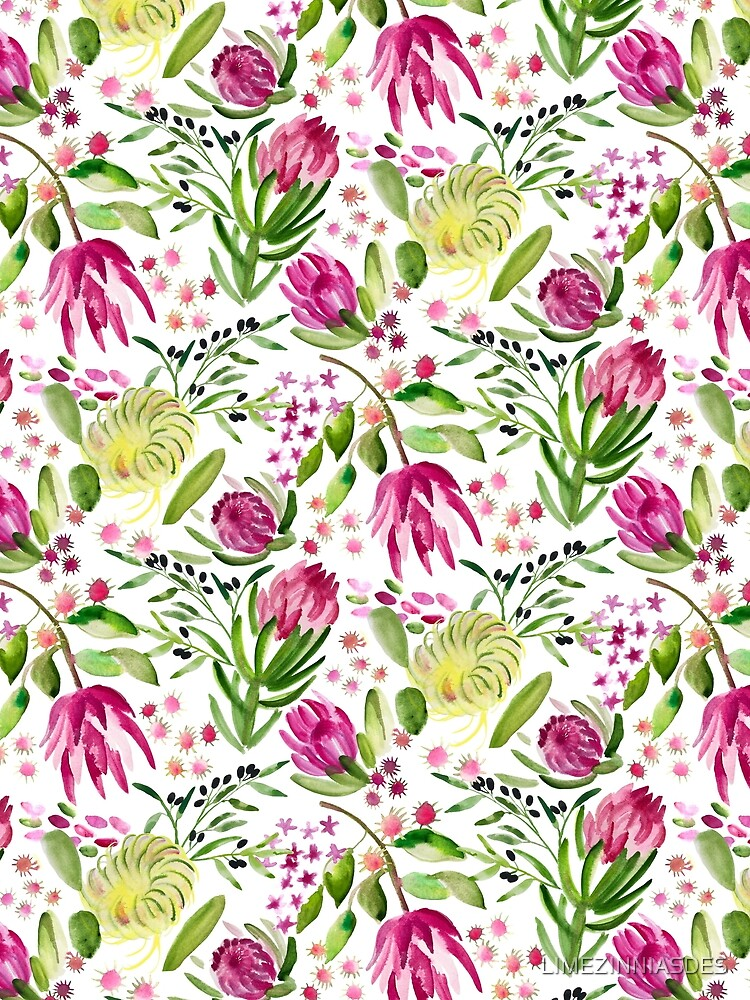 Protea Bloom Floral by LIMEZINNIASDES