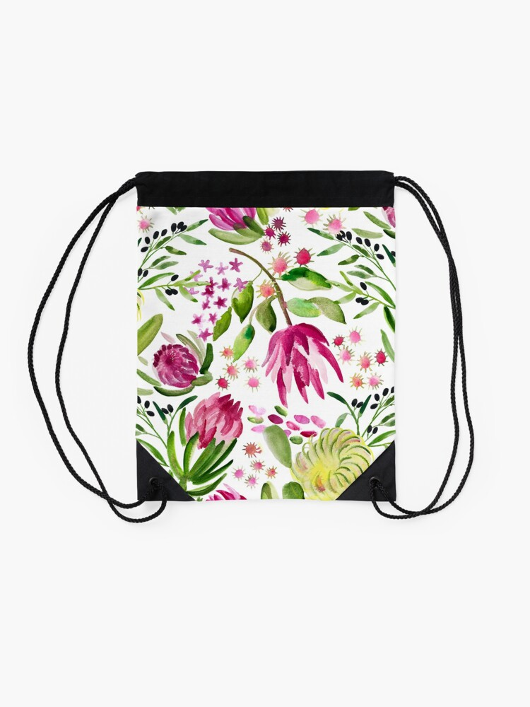 Alternate view of Protea Bloom Floral Drawstring Bag