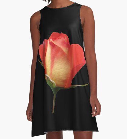 eine zauberhafte Rose mit den Tropfen des Morgentaus A-Linien Kleid