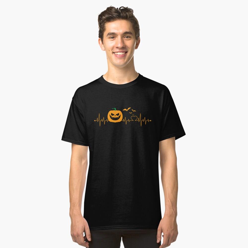 Halloween Pumpkin Heartbeat EKG Classic T-Shirt Front