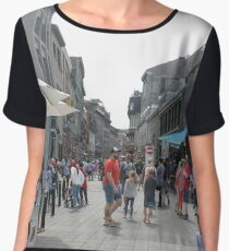 Montreal, People, street, city, crowd, walking, urban, old, architecture, road, building, travel, shopping, traffic, blur, walk, business, tourism, woman, london Chiffon Top