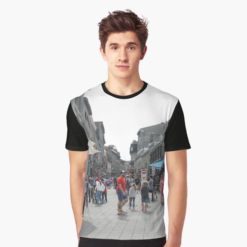 Montreal, People, street, city, crowd, walking, urban, old, architecture, road, building, travel, shopping, traffic, blur, walk, business, tourism, woman, london Graphic T-Shirt Front