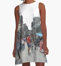 #Montreal #People #street #city #crowd #walking #urban #old #architecture #road #building #travel #shopping #traffic #blur #walk #business #tourism #woman #london A-Line Dress