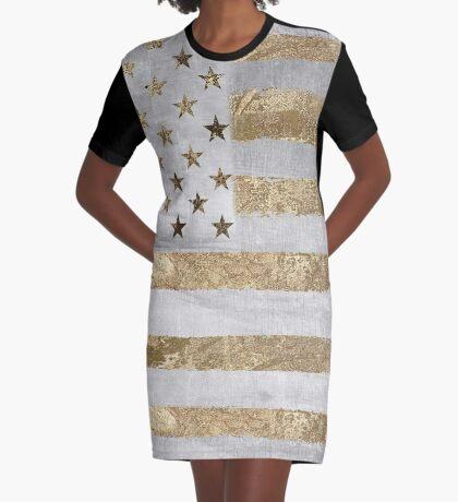 Fashion American Flag Silver Gold Graphic T-Shirt Dress