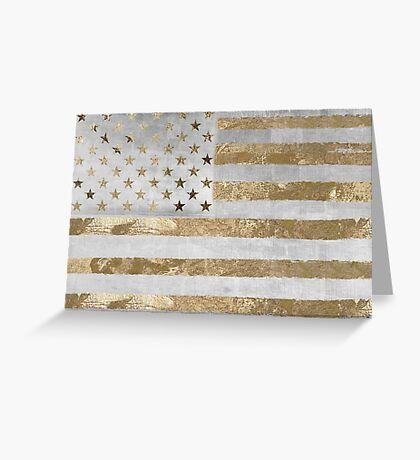 Fashion American Flag Silver Gold Greeting Card