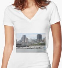 Old Port of Montreal #OldPort #Montreal #Old #Port #city #skyline #water #buildings #architecture #urban #building #harbor #cityscape #sky #downtown #skyscraper #business #river #view #panorama #boat Women's Fitted V-Neck T-Shirt