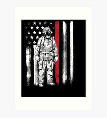American Flag Thin Red Line Fireman Hero Art Print
