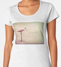 Spoonbill on a Grunge Background Women's Premium T-Shirt