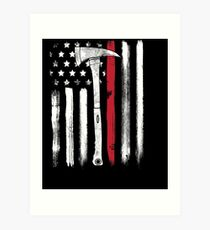 American Flag Thin Red Line Firefighter Axe Art Print