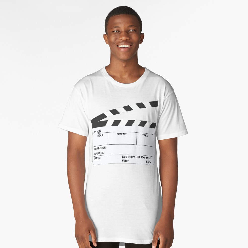 Clapperboard (b&w) Long T-Shirt Front