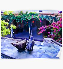 Clay Birds Above Courtyard Poster