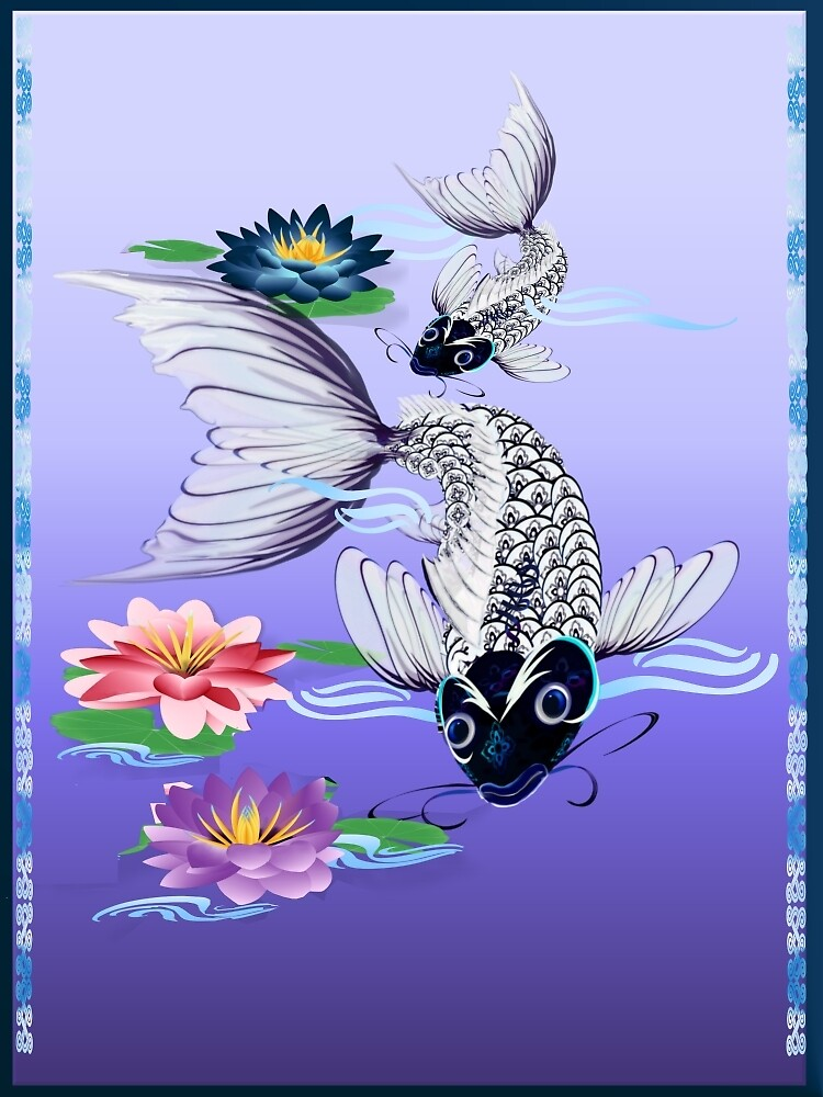 Two White Koi-Blue Lily  by Lotacats