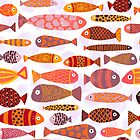 School of colorful tropical fish pattern by Sandra Hutter