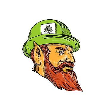 Leprechaun Head Side Drawing by patrimonio