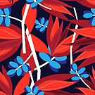 Seamless bright autumn pattern with red flowers by Tanor