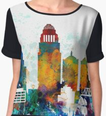 Louisville colorful watercolor skyline  Chiffon Top